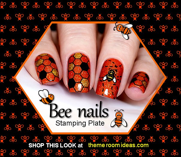Picnic in the Park Stamping Plate For Stamped Nail Art Design Bumble Bee Nails Bee nail art designs