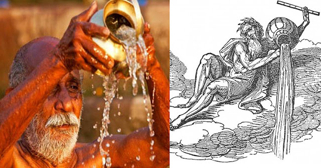 Hindu Ritual of Surya Arghya (offering water to the Sun (Astrology Magazine) & the Water Bearer of Aquarius (Wikipedia)
