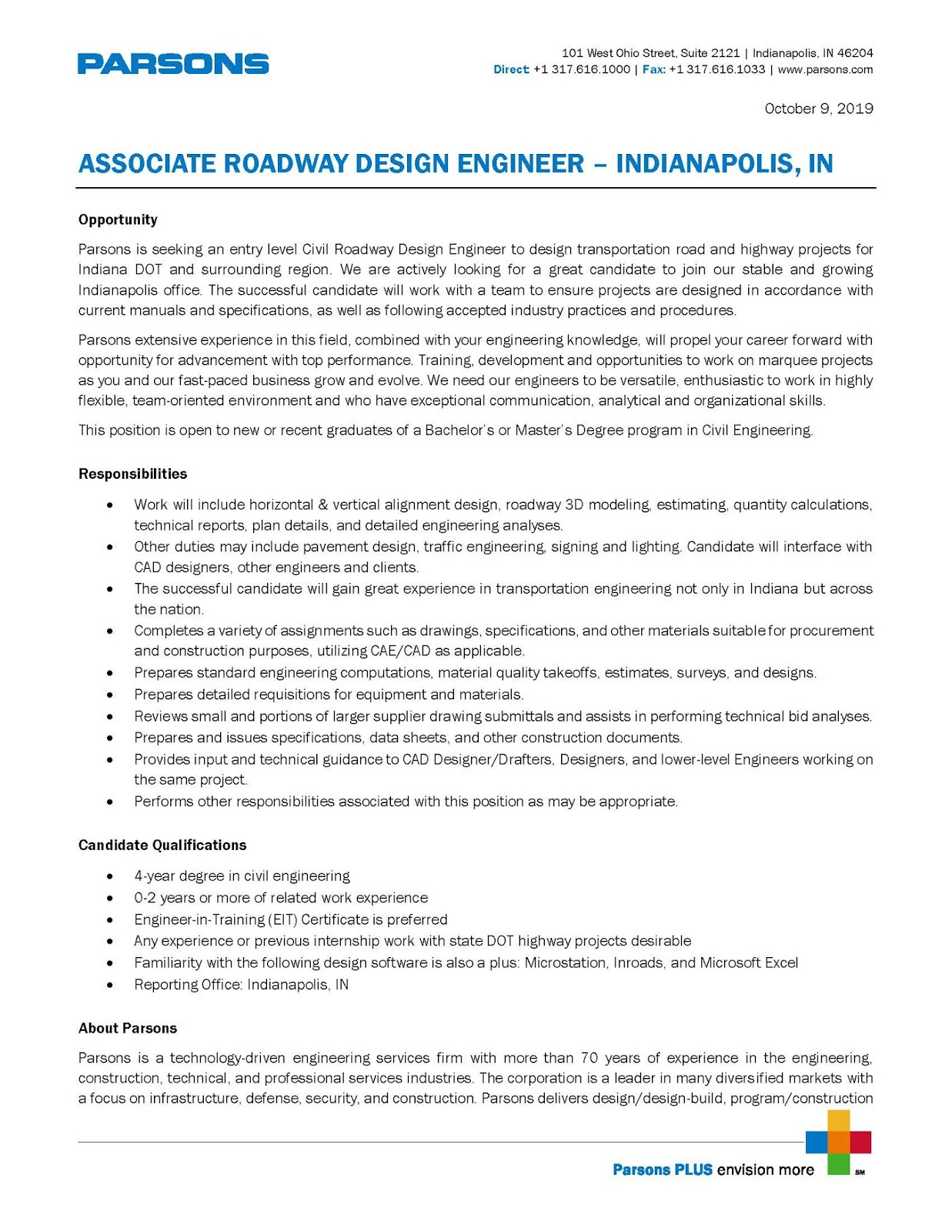 Purdue Lyles School Of Civil Engineering Student Information And Updates Parsons Associate Roadway Design Engineer Indianapolis In