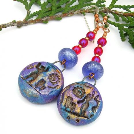 hieroglyph dangle earrings for women