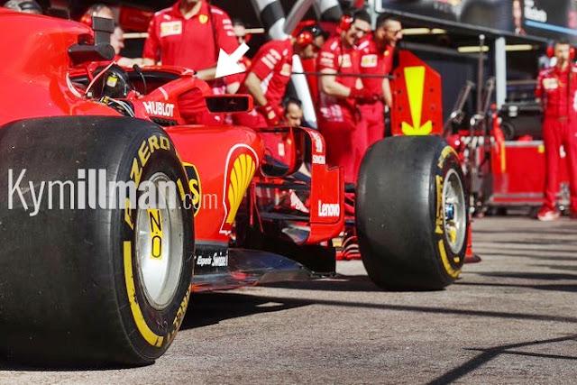La Ferrari SF71H nei box di Montecarlo / Foto Kymillman