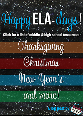 The holiday season in late fall and early winter can be rough - both incredibly busy and full of distraction. This link-up includes a variety of secondary ELA activities for Thanksgiving, Christmas, New Year's, and more to help make your life a little easier, so click through to check it out!