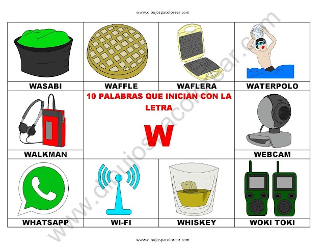 10 palabras u objetos que inician con la letra W