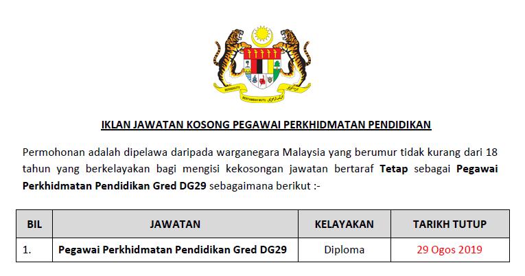 Jawatan Kosong Pegawai Perkhidmatan Pendidikan Gred Dg29 Ejawatankini Com