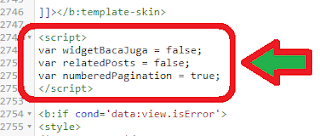 Setting Widget Baca Juga, Related Post, Dan Number Pagination