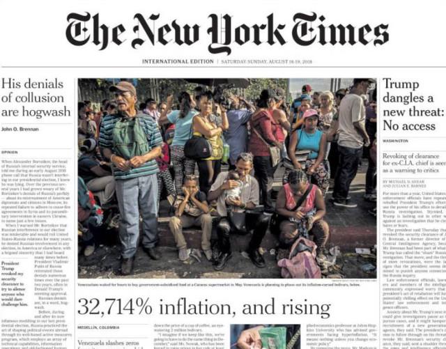 Curiosidades   Turismo   La Patilla Tv #EscombrosDeMaduro: La portada del New York Times sobre la miseria en Venezuela agosto 18 2018, 8:44 am