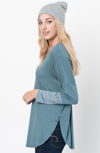 Buy Now Hunter green V-Neck Striped Panel Sleeve Tunic Online - $34 -@caralase.com