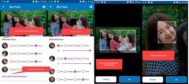 sfocatura faccia censura foto android
