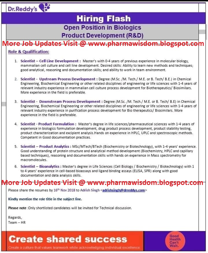 Urgent Openings @ Dr Reddy's for Biologics Product Development (R&D