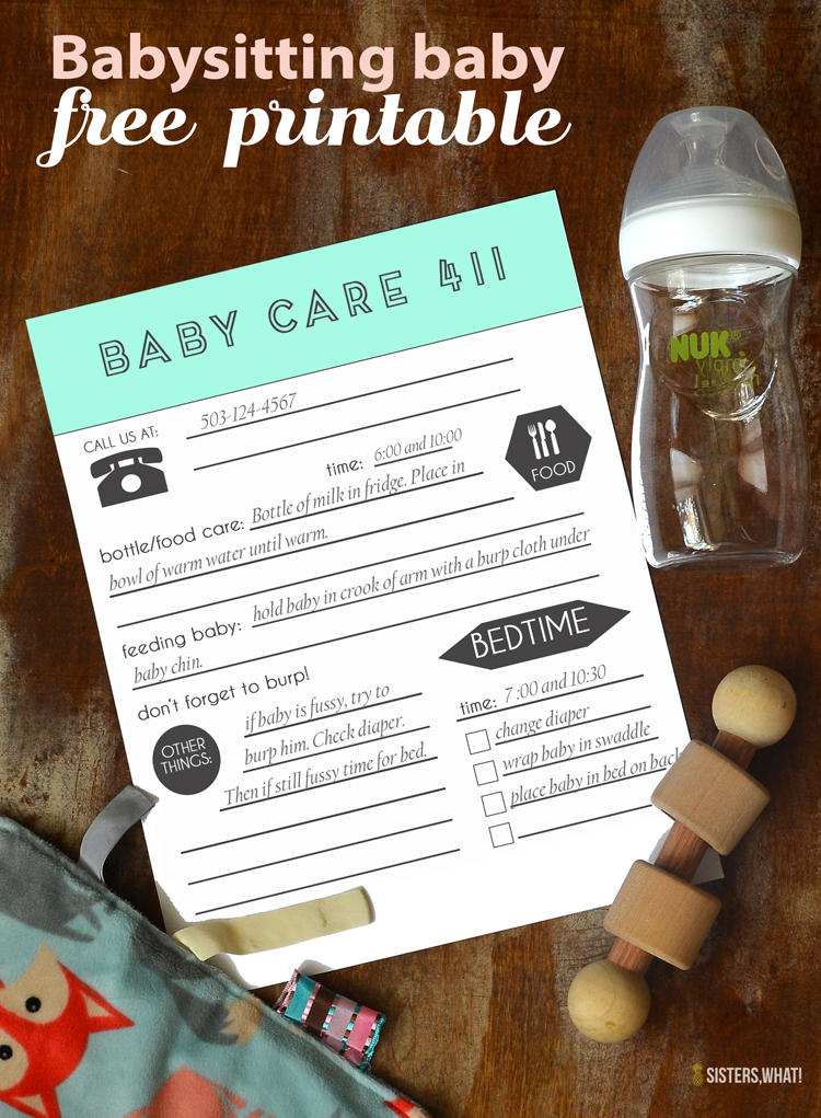 Babysitting baby free printable for babysitter