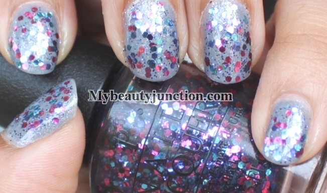 Manicure: O.P.I. Polka.com glitter nail polish swatched over I Don't Give A Rotterdam
