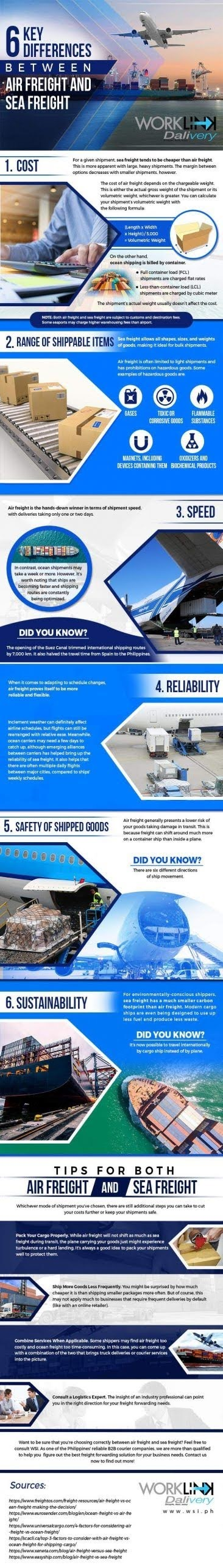 6 Key Differences Between Air Freight and Sea Freight #infographic