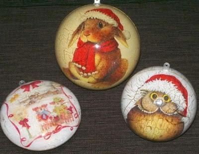 3 palline di natale decoupage, coniglio, orsetti, gufo