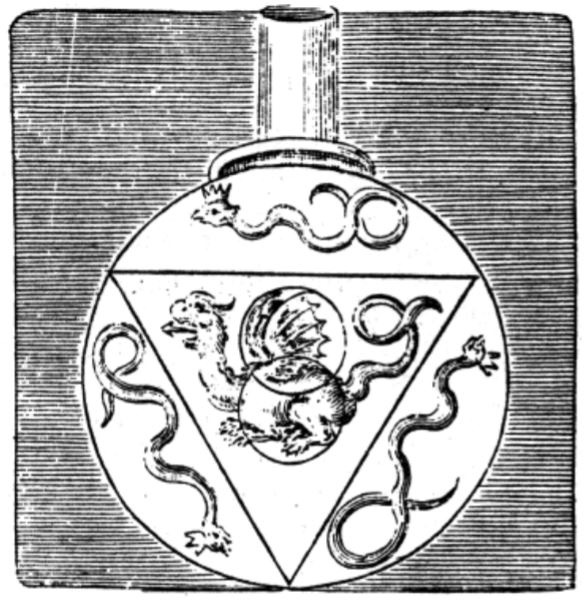 Alchemical Dragon Flask with inverted triangle and vesica piscis, Hermetic Musæum's reprinting of The Twelve Keys of Basil Valentine in which the keys to finding the Philosopher's Stone are expressed in occult manner.