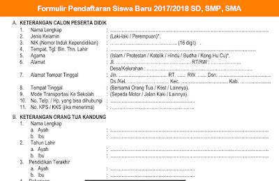 Format Formulir Pendaftaran Siswa Baru 2017/2018