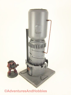 Tall vertical processing tower for 25-28mm scale wargames - rear view.