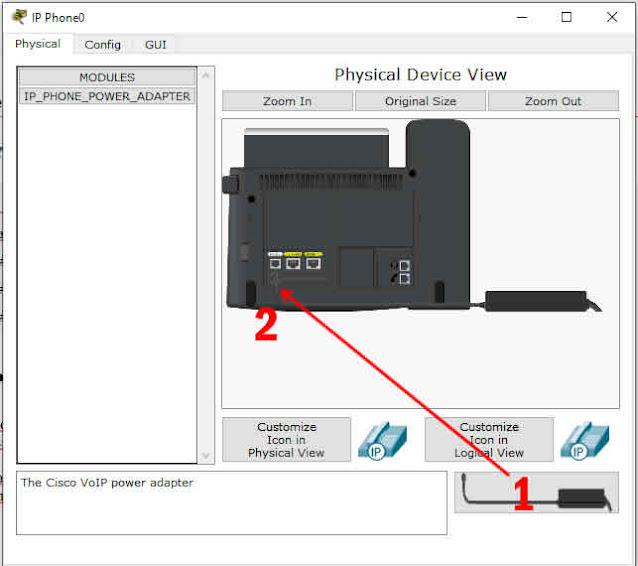 memasang power adaftor pada ip phone