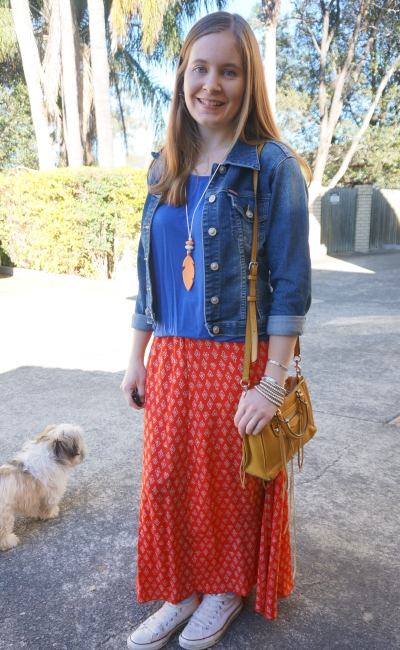 denim jacket blue ree red maxi skirt yellow cross body micro Regan bag SAMH Style | AwayFromBlue
