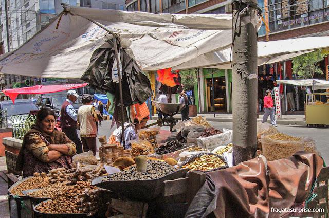 Mercado de rua em la Paz, Bolívia