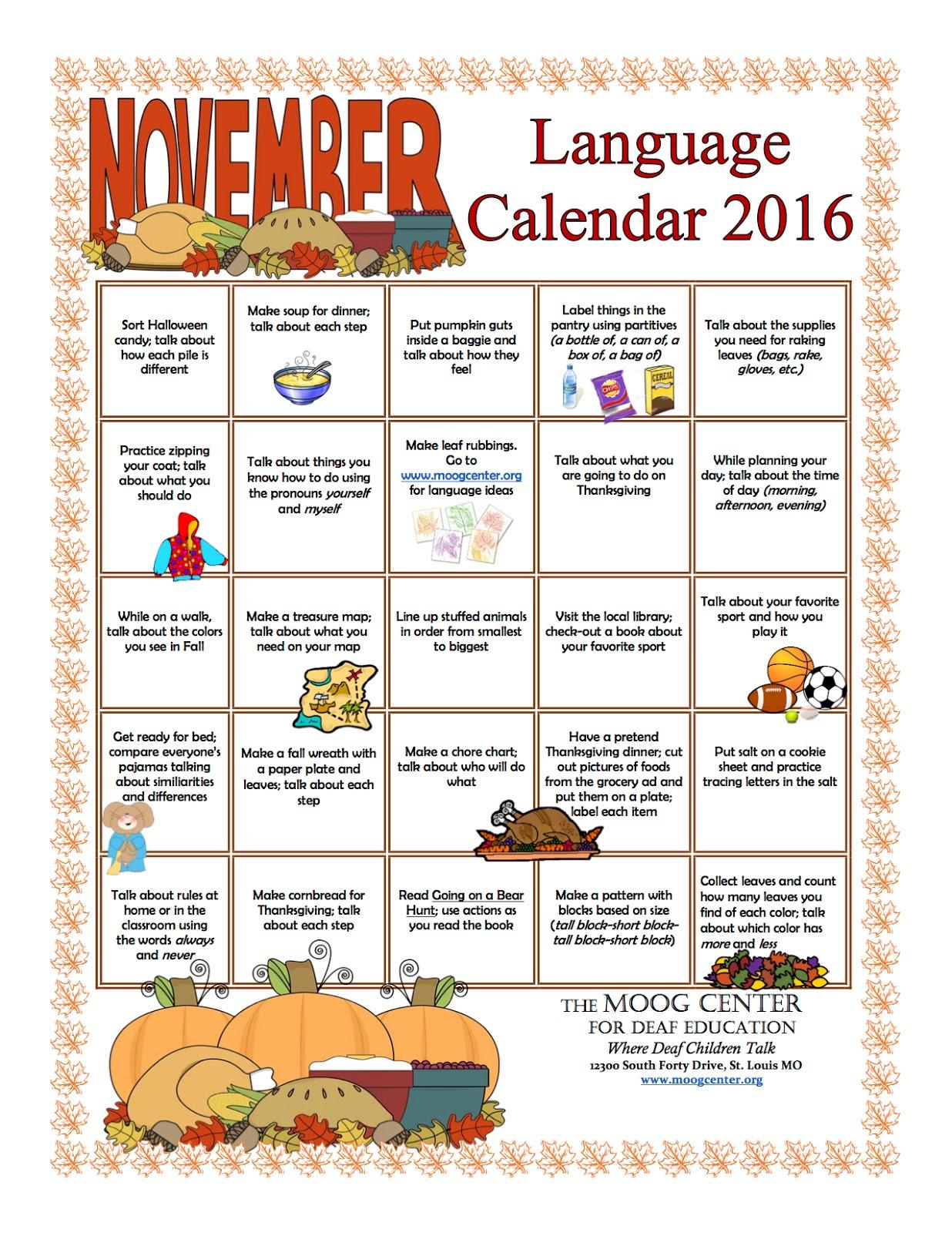 november calendar ideas