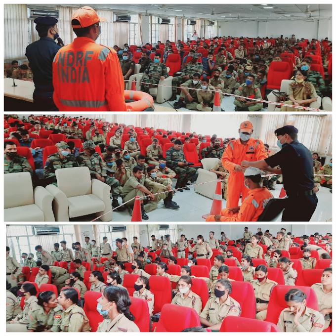 NDRF ने NCC कैडेट्स को सिखाए आपदा से बचाव के गुर
