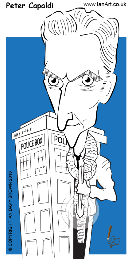 Peter Capaldi Actor Dr Who Caricature cartoon