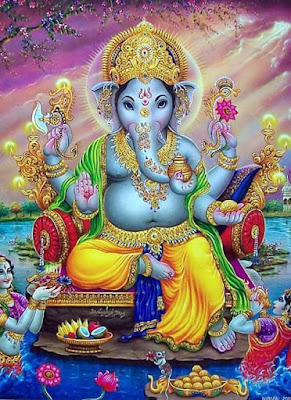Colourful image of Lord Ganesha
