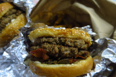 A bacon burger with mayo, sauteed onions and mushrooms from Five Guys