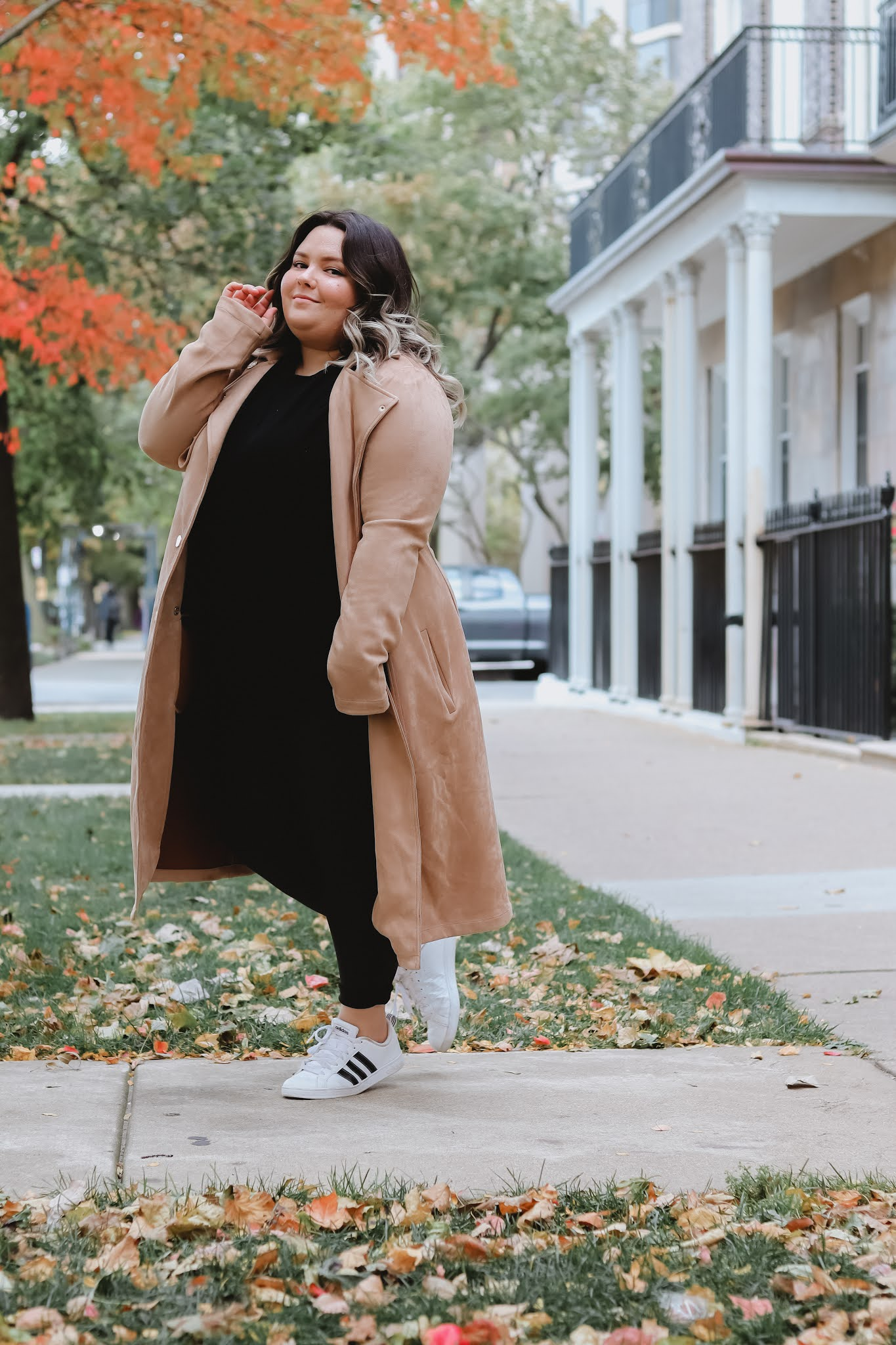 Chicago Plus Size Petite Fashion Blogger Natalie in the City work from home outfits faux leather leggings
