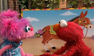 Elmo and Abby Cadabby play Pin the Tail on the Donkey. Sesame Street Elmo and Abby's Birthday Fun