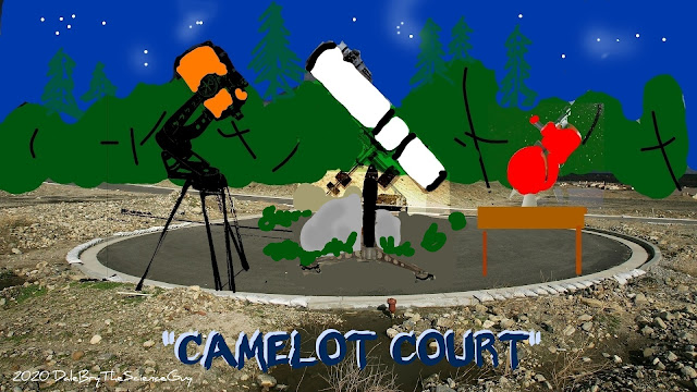 Graphic of O-Team members telescopes at Camelot Court