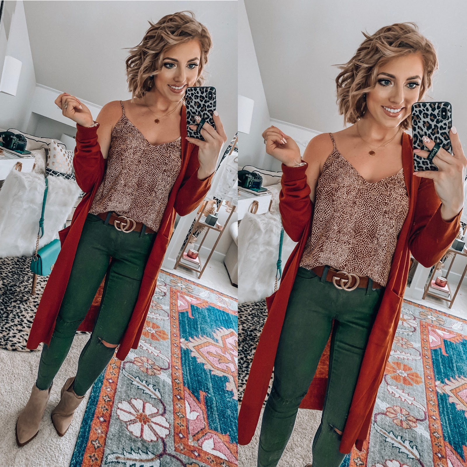 Target Fall Finds: Part One - $17 Snake Cami, $20 Olive Green Jeggings, Under $30 Rust Cardigan - Something Delightful Blog