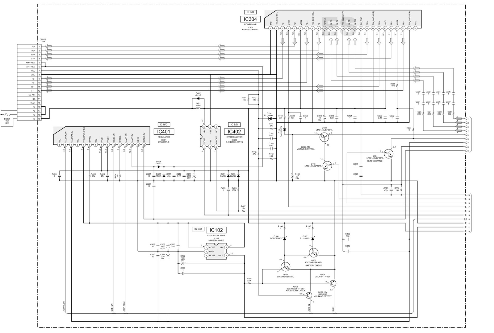 POWER AMPLIFIER CIRCUIT DIAGRAM. USING IC PURE5001H-4WX. CLICK ON THE IMAGE  TO ZOOM IN