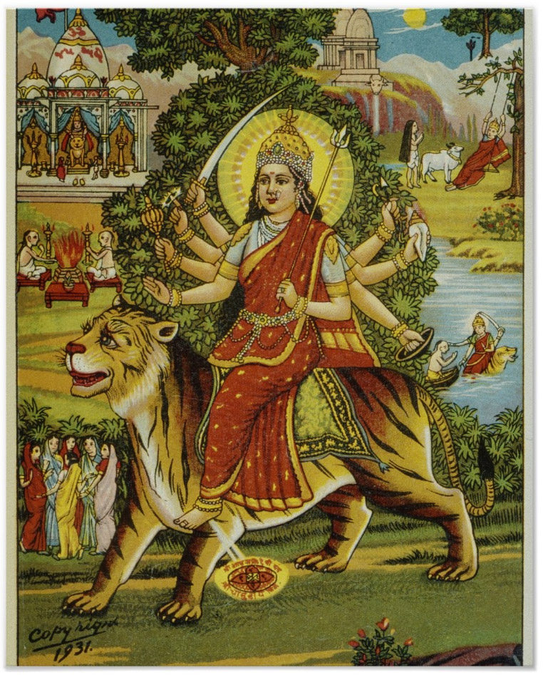 Goddess Durga - Indian Lithograph Print 1931