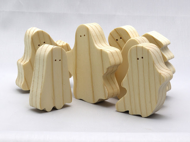 "Handmade Wooden Halloween Ghost Cutouts A Set of 6 Silly Spooks aka ""The Boo Crew"""