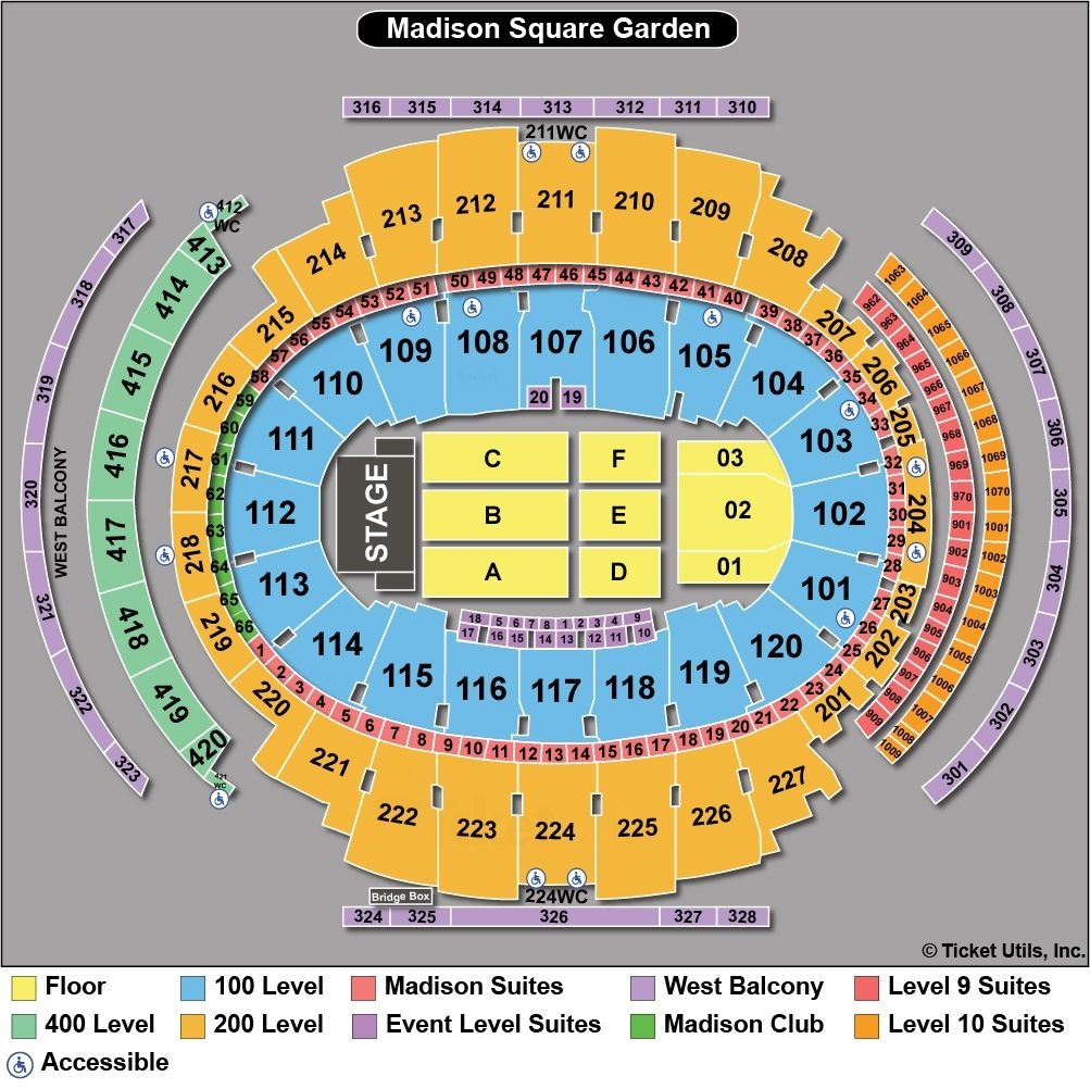 Msg Seating Chart Concert Seat Numbers: Lovely Madison Square Garden Seating Chart Concert