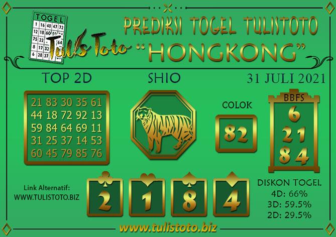 Prediksi Togel HONGKONG TULISTOTO 31 JULI 2021