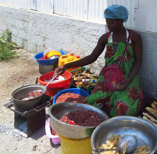 Roadside food vendor in Yaounde Cameroon