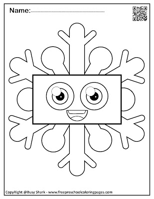snowflakes with basic shapes preschool coloring pages ,free printables for kids, rectangle