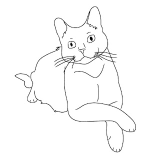 line drawing cat sitting black and white