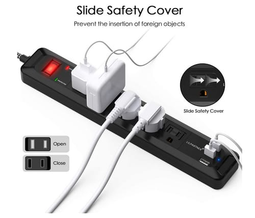 LiLpartner Lightning Protection Outlet Cords with 5-Outlet