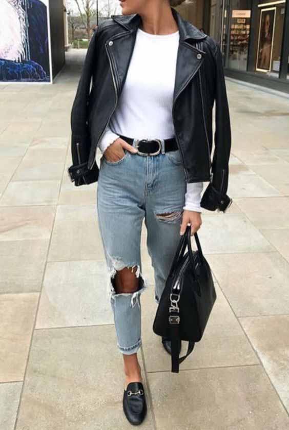 Mom jeans e jaqueta de couro