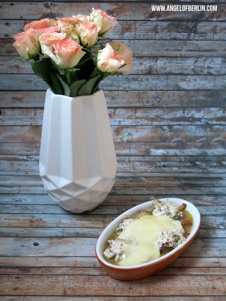 Marinierte Pilze mit geschmolzenem Mozzarella