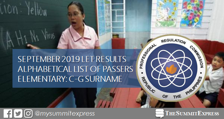 C-G Passers Elementary: LET Results September 2019