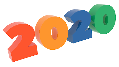 2020 New Year Word, Title 3D Text Congratulation with Peace-Sans Font and Tetrad Colors 1600x900 pixels
