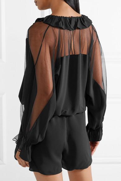 combi-short manches longues transparent noire Stella McCartney
