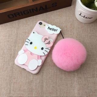 Soft TPU Case Cover Skin For Oppo R9 R9s Plus Hello Kitty w/ Mirror Plush Ball