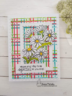 Plaid and Daisies a card by Diane Morales using the Plaid Stencil Set by Newton's Nook Designs