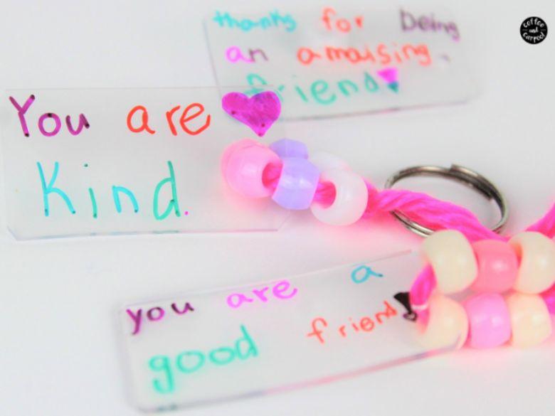 shrinky dink keychain craft  - summer camp craft for kids