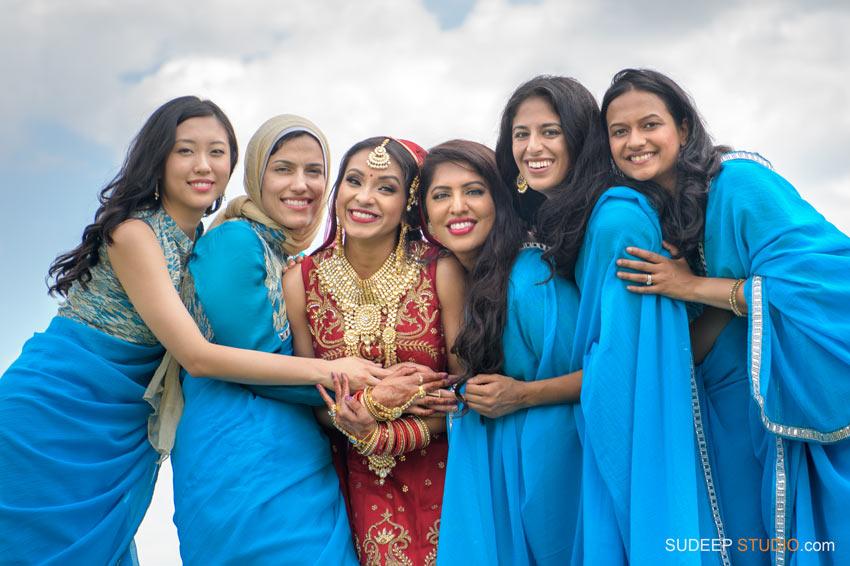 Indian Wedding Photography at Eagle Crest Marriott SudeepStudio.com Ann Arbor South Asian Indian Wedding Photographer Brides maid Saaree outfit